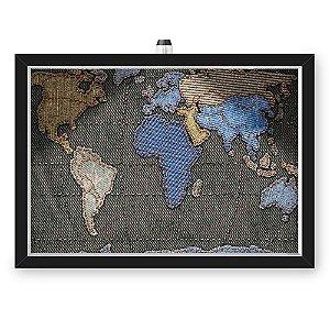 Quadro Caixa MAPA 33x43 cm (Com Led) Lojaria e Nerderia. mapa costura preto
