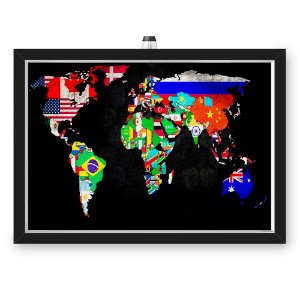Quadro Caixa MAPA 33x43 cm (Com Led) Lojaria e Nerderia. mapa dinheiro preto
