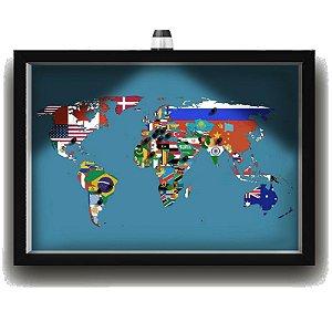 Quadro Caixa MAPA 33x43 cm (Com Led) Lojaria e Nerderia. viagens lugares bandeiras preto