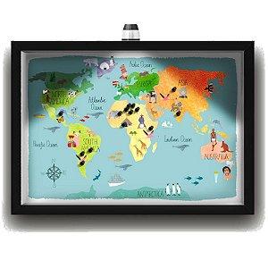 Quadro Caixa MAPA 33x43 cm (Com Led) Lojaria e Nerderia. viagens lugares ilustrados preto