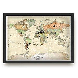 Quadro mapa  33x43 cm NERDERIA E LOJARIA lviagens ugares vintage preto