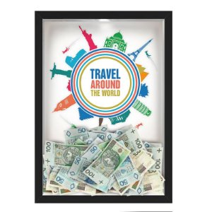 Quadro mapa  33x43 cm NERDERIA E LOJARIA viagens around the world preto