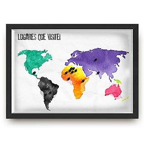Quadro mapa  33x43 cm NERDERIA E LOJARIA viagens lugares aquarela preto