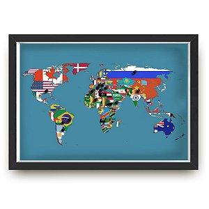 Quadro mapa  33x43 cm NERDERIA E LOJARIA viagens lugares bandeiras preto