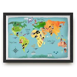 Quadro mapa  33x43 cm NERDERIA E LOJARIA viagens lugares ilustrado preto