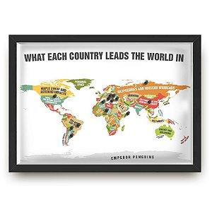 Quadro mapa  33x43 cm NERDERIA E LOJARIA viagens lugares leads preto