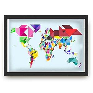 Quadro mapa  33x43 cm NERDERIA E LOJARIA viagens lugares origami preto