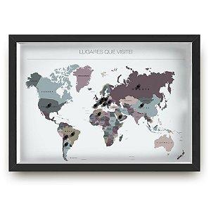 Quadro mapa  33x43 cm NERDERIA E LOJARIA viagens lugares saturacao preto