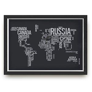 Quadro mapa  33x43 cm NERDERIA E LOJARIA viagens lugares textos preto