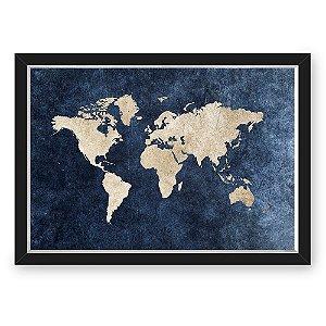 QUADRO MAPA 33X43  NERDERIA E LOJARIA mapa azul preto