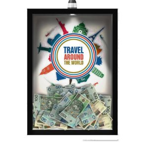 Quadro Caixa  COFRE 33x43 cm (Com Led) Lojaria e Nerderia. viagens around the world preto