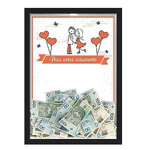 Quadro CAIXA COFRE 33x43 cm PARA O SEU CASAMENTO NERDERIA E LOJARIA casamento casal cartoon preto