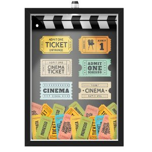 Quadro Caixa  Porta Ingressos 33x43 cm (Com Led) Lojaria e Nerderia. tickets cinema preto