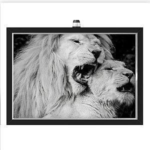 Quadro Caixa  33x43 cm (Com Led) Lojaria e Nerderia. leao amor preto