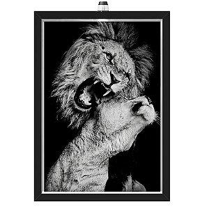 Quadro Caixa  33x43 cm (Com Led) Lojaria e Nerderia. lion_love preto