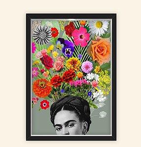 Quadro Caixa Decorativo 23x33cm Nerderia e Lojaria frida florida preto