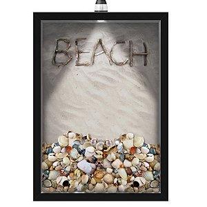 Quadro Caixa Porta Conchas 33x43 cm (Com Led) Lojaria e Nerderia. conchas areia preto