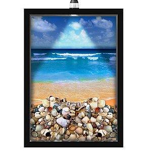 Quadro Caixa Porta Conchas 33x43 cm (Com Led) Lojaria e Nerderia. conchas praia preto