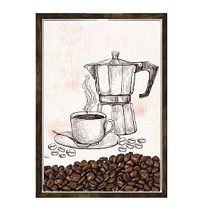 Quadro Decorativo Caixa Porta Grãos de Café 23x33cm Nerderia e Lojaria graos cafe maquina madeira