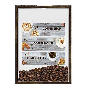 Quadro Decorativo Caixa Porta Grãos de Café 23x33cm Nerderia e Lojaria graos cafe fresh madeira