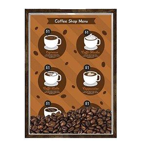 Quadro Caixa 23x33 Nerderia e Lojaria graos cafe shop menu preto