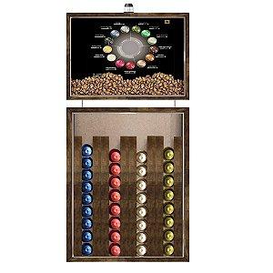 Quadro Caixa 33x70 cm Porta Capsulas de Café Nespresso (Com Led) Nerderia e Lojaria tipos de cafe madeira