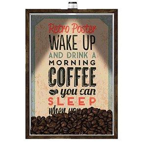 Quadro Caixa Porta GRÃOS DE CAFÉ  (Com Led) 23x33 cm Nerderia e Lojaria graous cafe wakeup preto