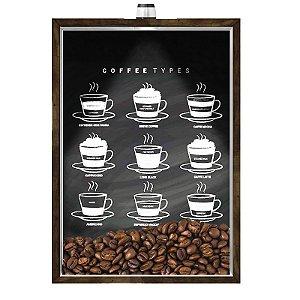 Quadro Caixa Porta GRÃOS DE CAFÉ  (Com Led) 23x33 cm Nerderia e Lojaria graos cafe types preto