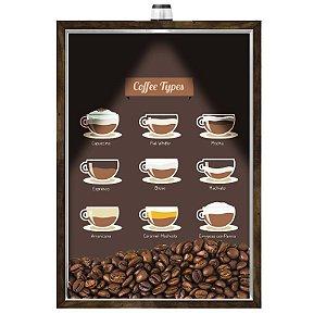 Quadro Caixa Porta GRÃOS DE CAFÉ  (Com Led) 23x33 cm Nerderia e Lojaria graos cafe tipos preto