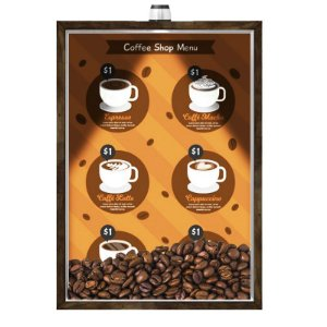 Quadro Caixa Porta GRÃOS DE CAFÉ  (Com Led) 23x33 cm Nerderia e Lojaria graos cafe shop menu preto
