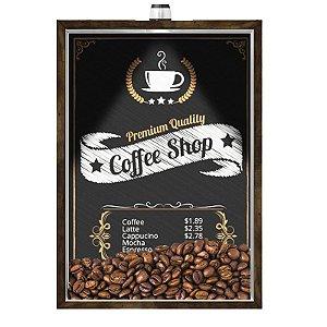 Quadro Caixa Porta GRÃOS DE CAFÉ  (Com Led) 23x33 cm Nerderia e Lojaria graos cafe shop preto
