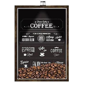 Quadro Caixa Porta GRÃOS DE CAFÉ  (Com Led) 23x33 cm Nerderia e Lojaria graos cafe premium quality preto