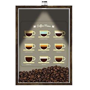 Quadro Caixa Porta GRÃOS DE CAFÉ  (Com Led) 23x33 cm Nerderia e Lojaria graos cafe menu preto