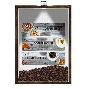 Quadro Caixa Porta GRÃOS DE CAFÉ  (Com Led) 23x33 cm Nerderia e Lojaria graos cafe fresh preto