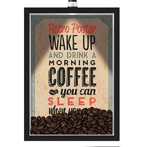 Quadro Caixa 33x43 cm Porta Grãos de Café (Com Led) Nerderia e Lojariagraous cafe wakeup preto