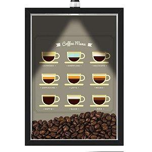 Quadro Caixa 33x43 cm Porta Grãos de Café (Com Led) Nerderia e Lojariagraos cafe menu preto