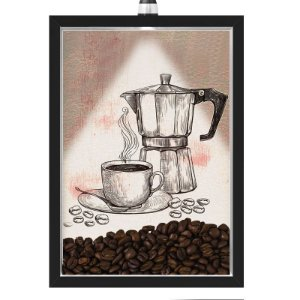 Quadro Caixa 33x43 cm Porta Grãos de Café (Com Led) Nerderia e Lojariagraos cafe maquina preto