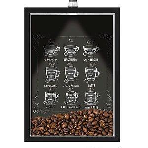 Quadro Caixa 33x43 cm Porta Grãos de Café (Com Led) Nerderia e Lojariagraos cafe lousa preto