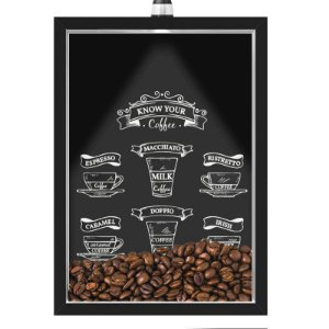 Quadro Caixa 33x43 cm Porta Grãos de Café (Com Led) Nerderia e Lojariagraos cafe know your preto