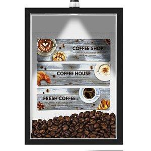 Quadro Caixa 33x43 cm Porta Grãos de Café (Com Led) Nerderia e Lojariagraos cafe fresh (2) preto