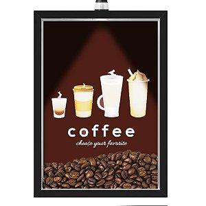 Quadro Caixa 33x43 cm Porta Grãos de Café (Com Led) Nerderia e Lojariagraos cafe chose preto