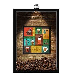 QUADRO DUPLO CAIXA 33X43  (COM LED )PORTA GRÃOS DE CAFE Nerderia e Lojaria  graos cafe maquinas preto