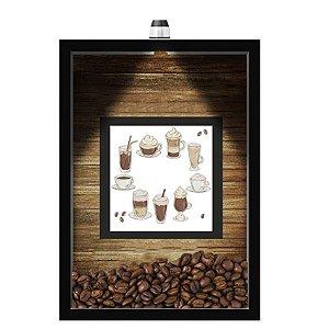 QUADRO DUPLO CAIXA 33X43  (COM LED )PORTA GRÃOS DE CAFE Nerderia e Lojaria  graos cafe cup preto