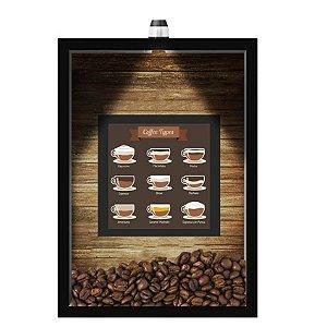 QUADRO DUPLO CAIXA 33X43  (COM LED )PORTA GRÃOS DE CAFE Nerderia e Lojaria  graos cafe tipos preto