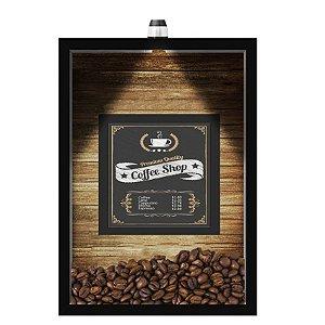 QUADRO DUPLO CAIXA 33X43  (COM LED )PORTA GRÃOS DE CAFE Nerderia e Lojaria  graos cafe shop preto