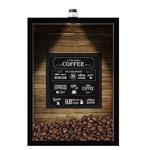QUADRO DUPLO CAIXA 33X43  (COM LED )PORTA GRÃOS DE CAFE Nerderia e Lojaria  graos cafe premim quality preto