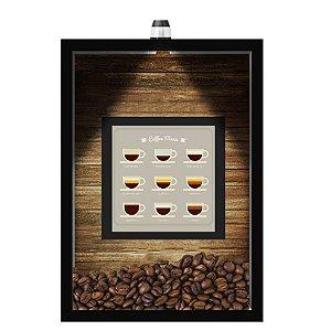 QUADRO DUPLO CAIXA 33X43  (COM LED )PORTA GRÃOS DE CAFE Nerderia e Lojaria  graos cafe menu preto