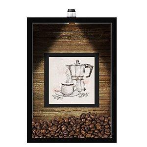 QUADRO DUPLO CAIXA 33X43  (COM LED )PORTA GRÃOS DE CAFE Nerderia e Lojaria  graoss cafe lousa preto