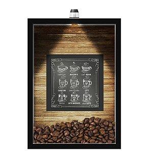 QUADRO DUPLO CAIXA 33X43  (COM LED )PORTA GRÃOS DE CAFE Nerderia e Lojaria  graos cafe lousa preto