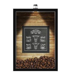 QUADRO DUPLO CAIXA 33X43  (COM LED )PORTA GRÃOS DE CAFE Nerderia e Lojaria  graos café fresh 2 preto